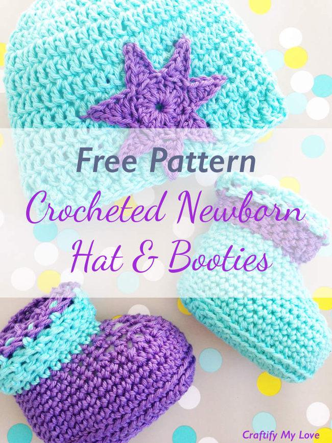 L'image montre un chapeau et des bottillons pour nouveau-né au crochet qui sont très mignons et faciles à fabriquer.