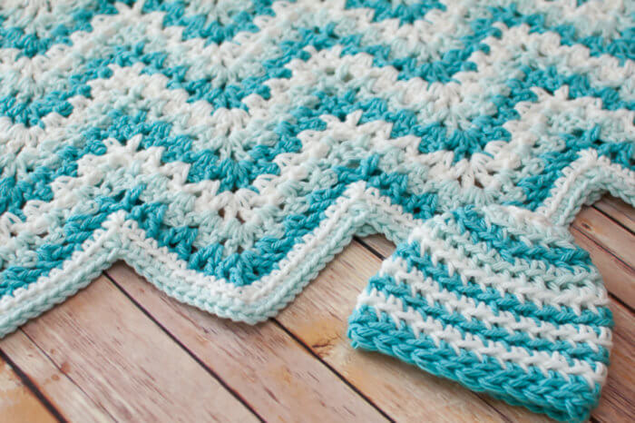 Crochet Ripple Baby Blanket and Matching Hat