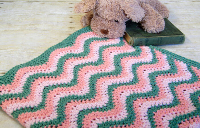 Watermelon Crochet Ripple Baby Blanket