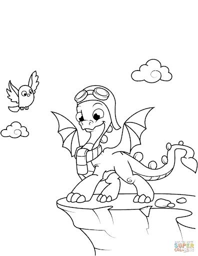 mignon petit dragon dessin à peindre