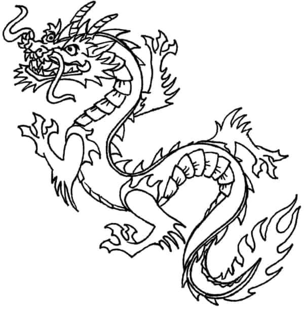 coloriage de dragon chinois