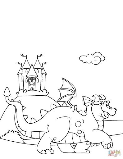 Coloriage de dragon et château à imprimer et peindre