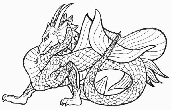 dessin pour peindre dragon