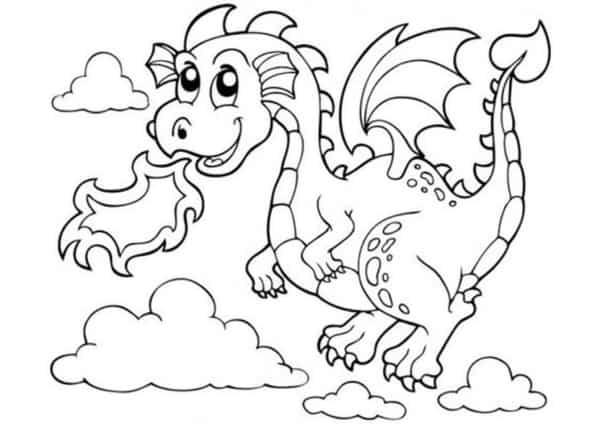 dessin animé dragon volant à peindre