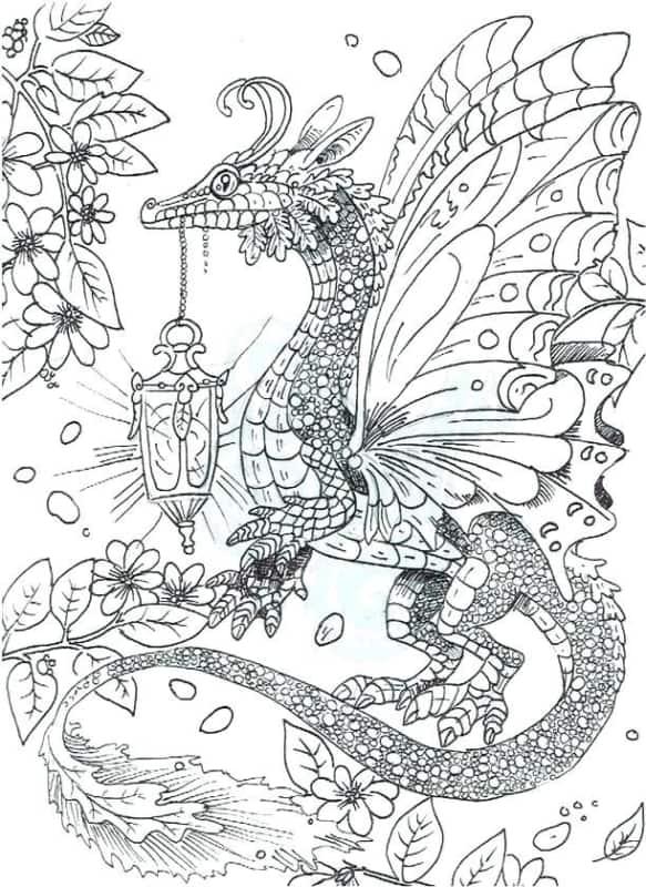 dessin de dragon détaillé à peindre