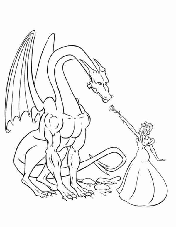 dragon avec princesse coloriage