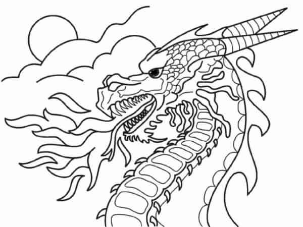 dessin de dragon à peindre