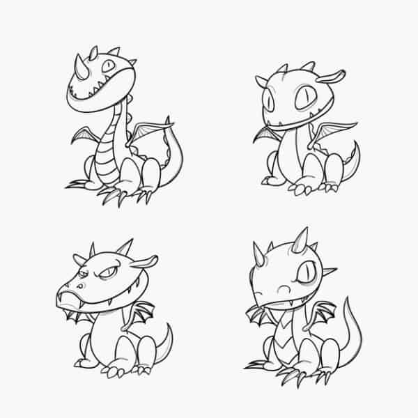 dessins de dragons à peindre