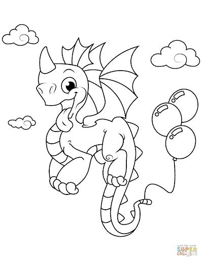 dessin de dragon mignon à peindre
