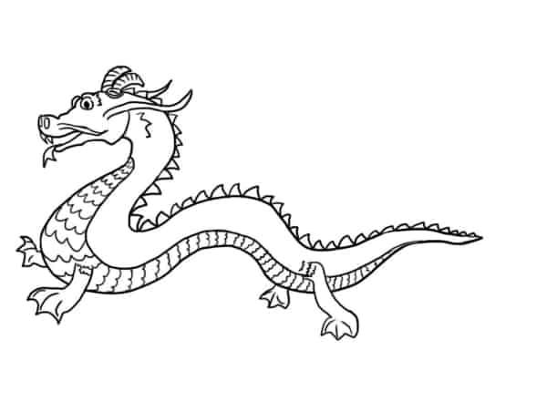 coloriage de dragon chinois simple