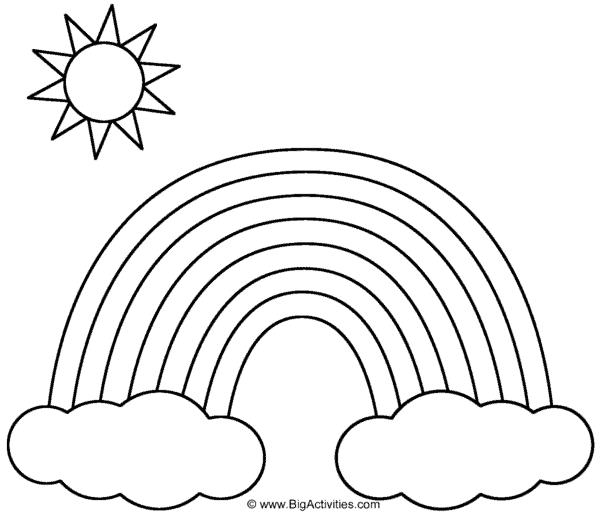 dessin simple du soleil avec arc en ciel à peindre