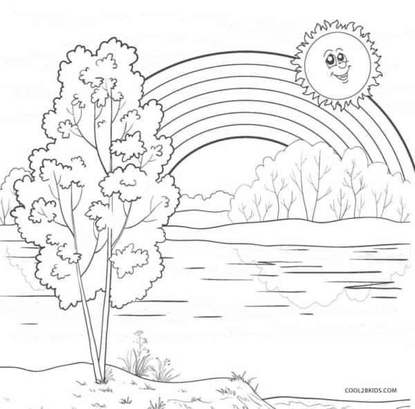dessin à imprimer et peindre le soleil avec un arc en ciel