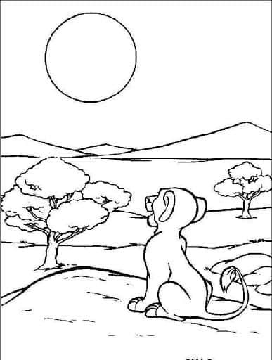 Coloriage du soleil couchant dans la nature