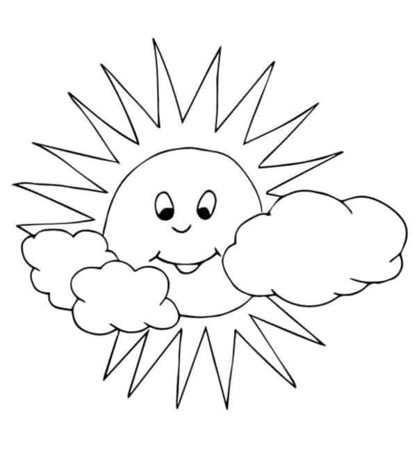soleil de dessin animé avec des nuages à peindre