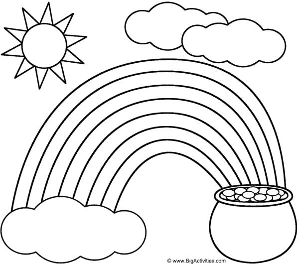 Coloriage de ciel avec soleil et arc-en-ciel à imprimer et peindre