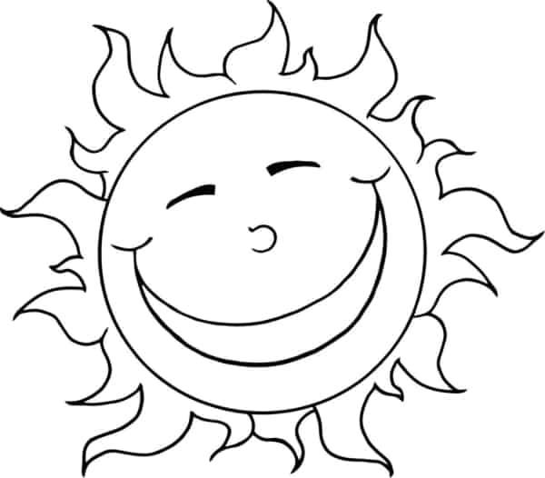 joli coloriage de soleil à imprimer et peindre
