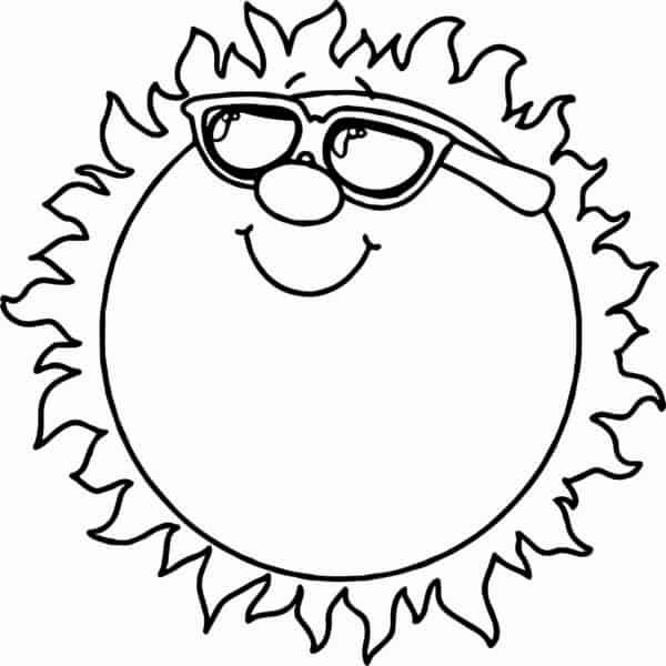 soleil de dessin animé avec des lunettes à peindre