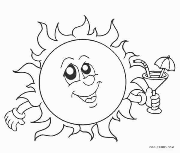 soleil de dessin animé à peindre