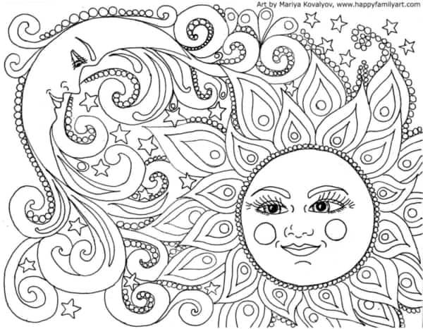 Coloriage de soleil et de lune à imprimer et colorier