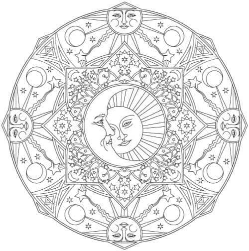 Coloriage soleil et lune à imprimer et peindre