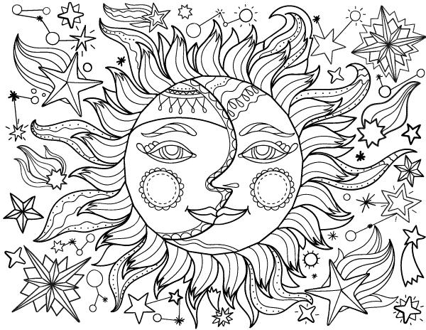 dessin imprimable gratuit du soleil avec la lune