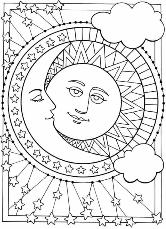 coloriage gratuit du soleil et de la lune