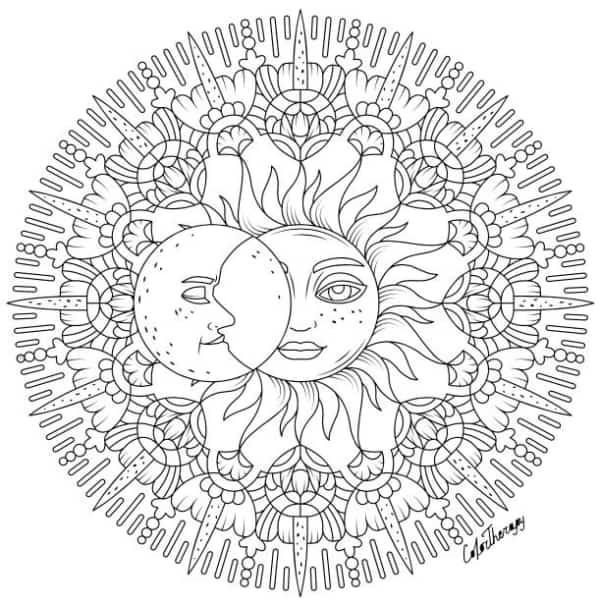 dessin détaillé du soleil et de la lune à peindre