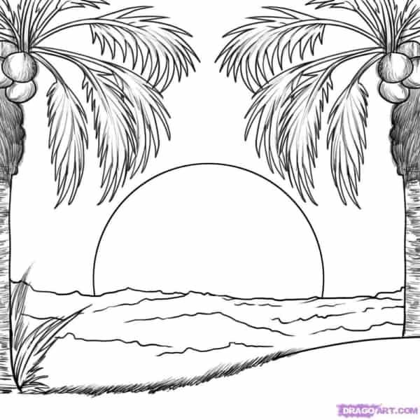 dessin animé, de, coucher soleil, plage