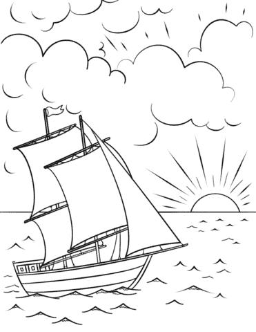 dessin animé, coucher soleil, dans, les, mer