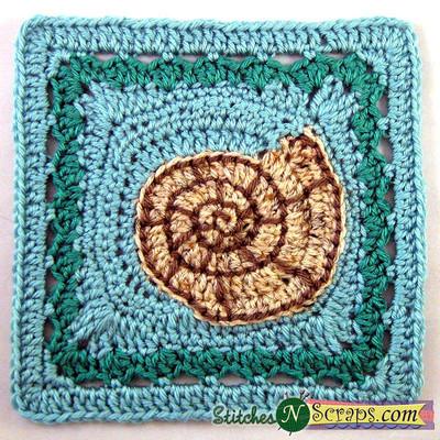 Motif carré de mamie de coquillage