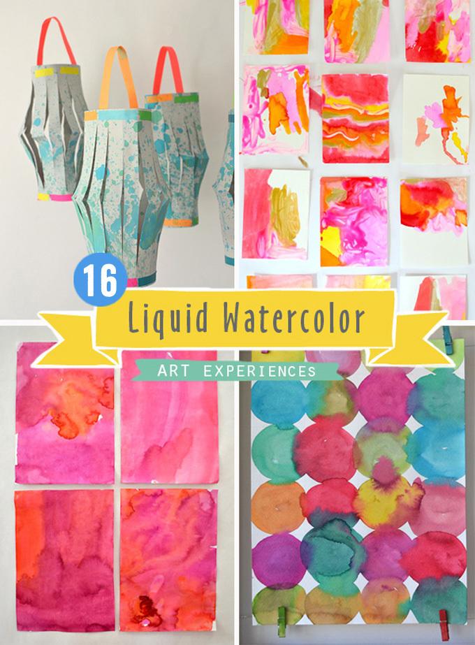 16 expériences artistiques utilisant l'aquarelle liquide pour les enfants