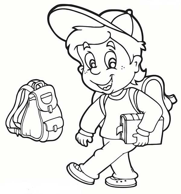 L'élève va à l'école.