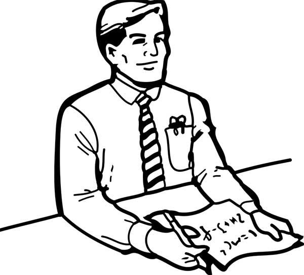 Dessin d'un professeur de cravate à enregistrer sur l'ordinateur et à peindre.