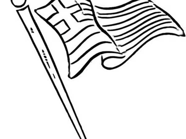 drapeau de la grèce à imprimer et colorier