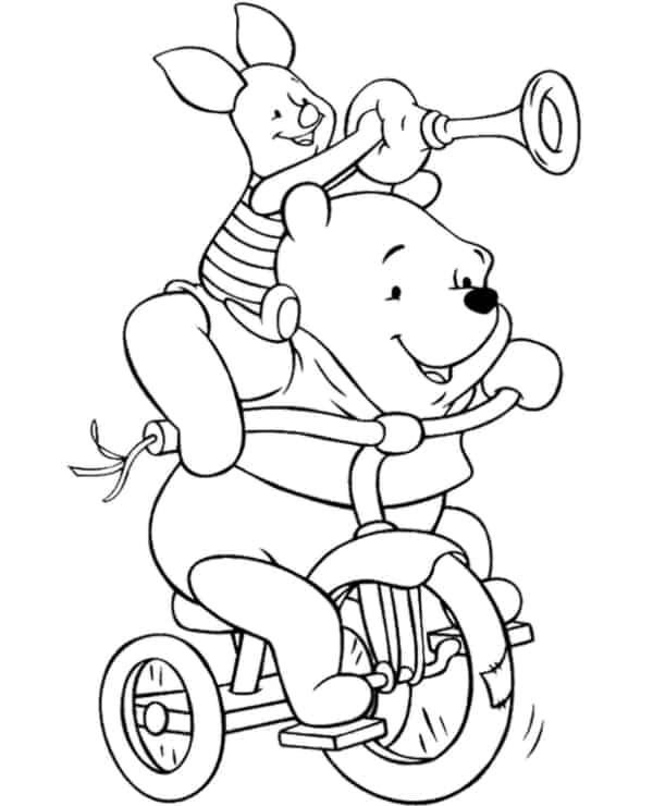 ourson en peluche avec porcelet sur le vélo