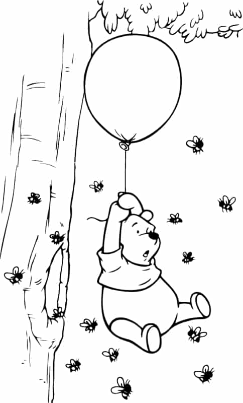 Coloriage ourson en peluche avec des abeilles