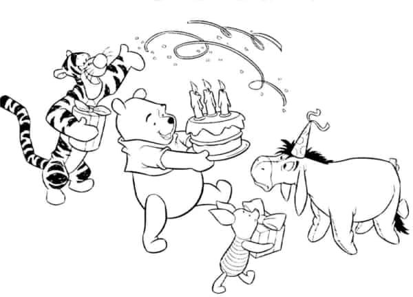Coloriage anniversaire ourson