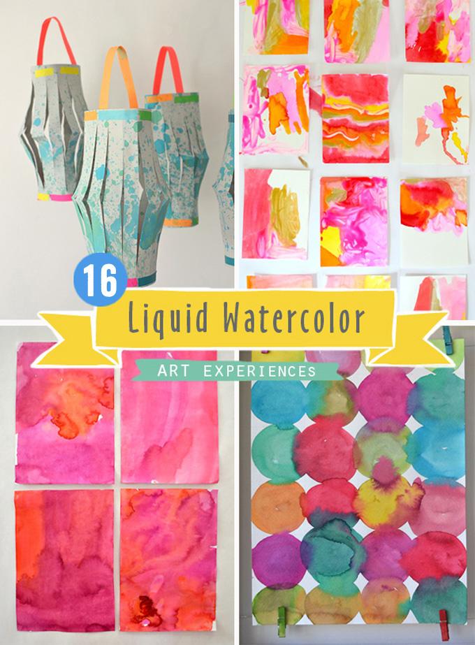 16 idées d'aquarelle liquide pour les enfants et les adolescents.