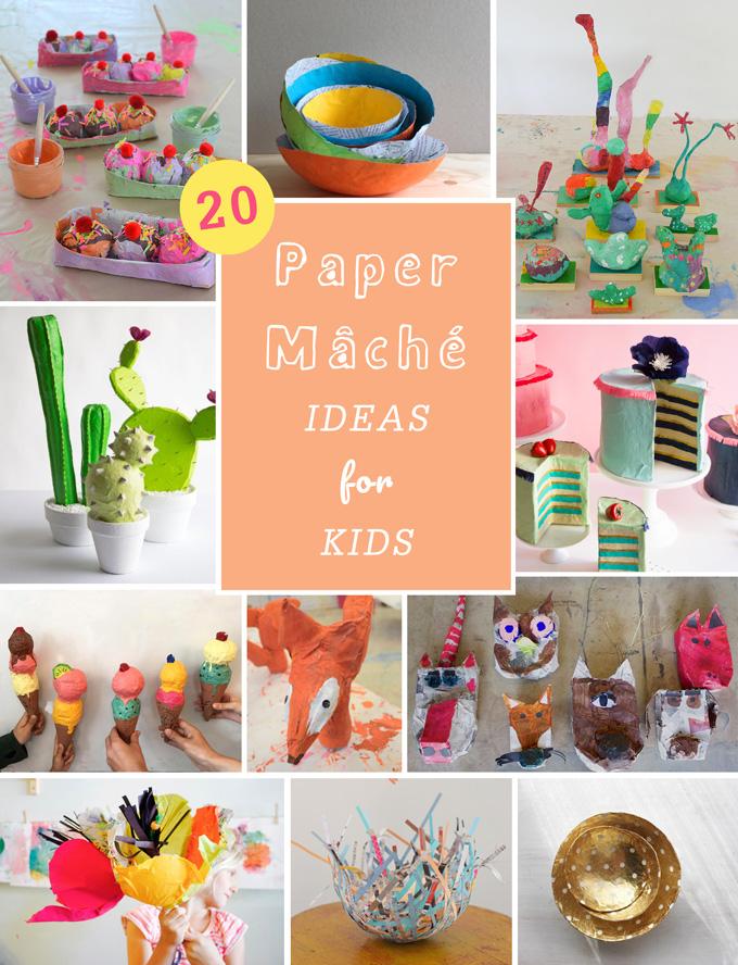 20 idées de papier mâché pour les enfants.