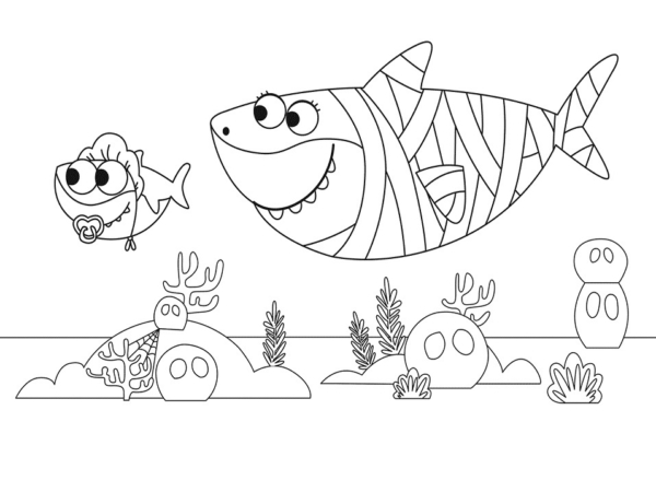 dessin de fond marin bébé requin