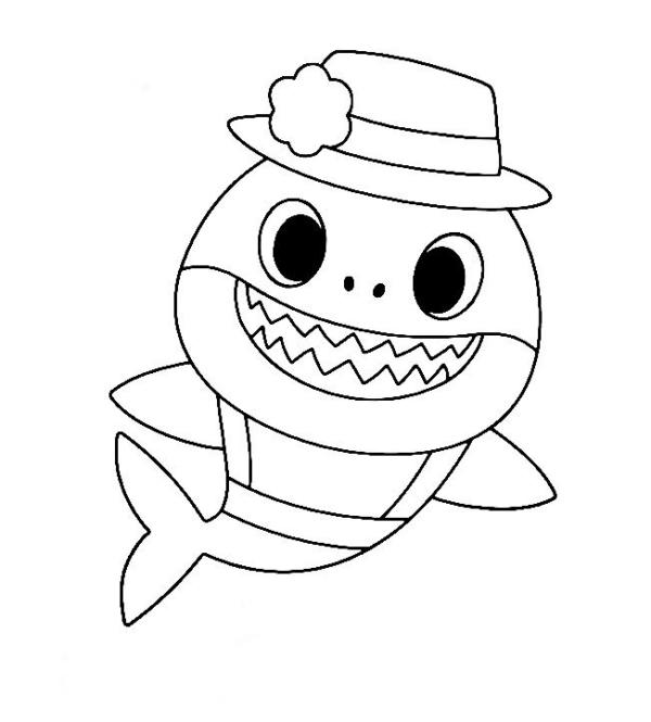 dessin simple bébé requin à peindre