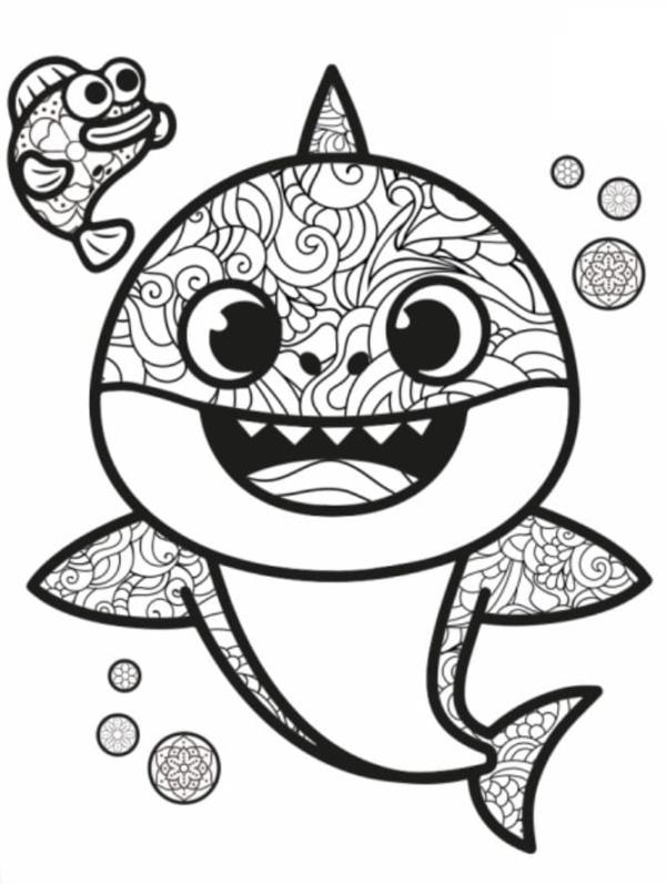 dessin de bébé requin avec des détails à peindre