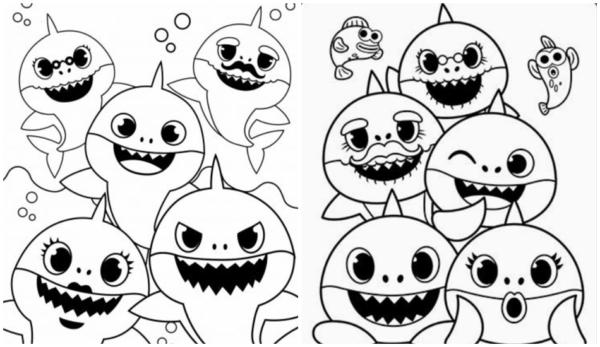 dessins de famille bébé requin à peindre