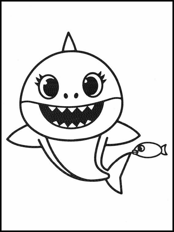 dessin simple de bébé requin avec poisson