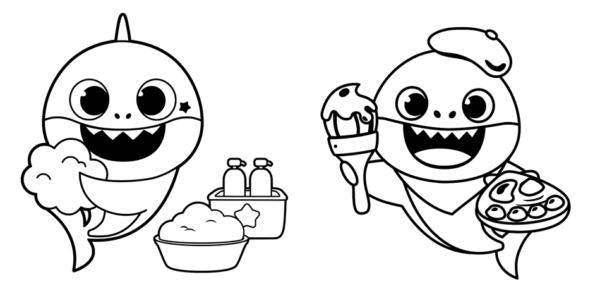 dessins simples de bébé requin
