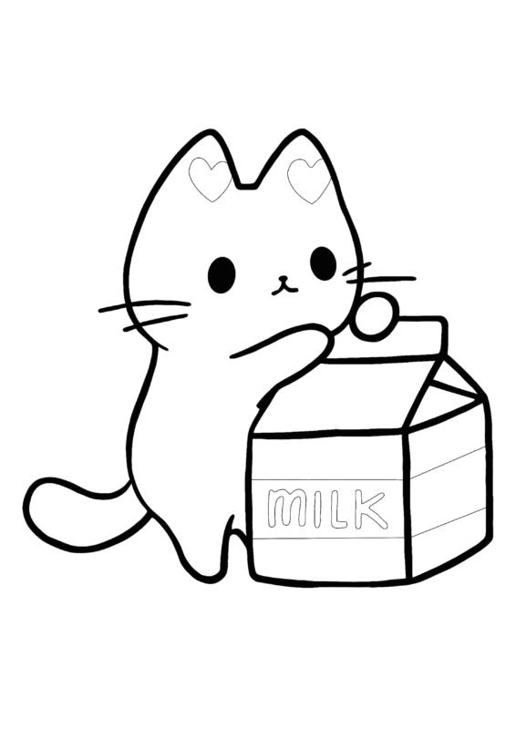 coloriages mignons (chaton avec du lait)