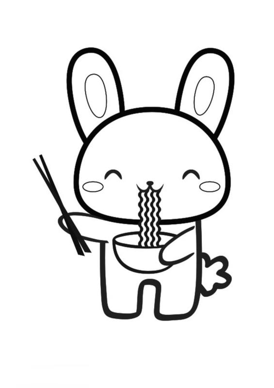 lapin mangeant des ramen