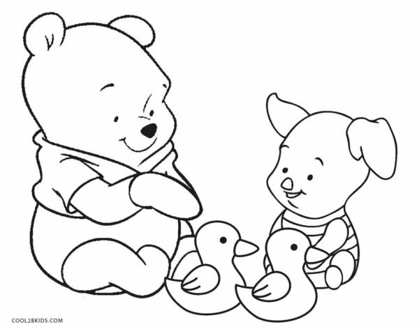 adorables pages à colorier de l'ourson et du porcelet
