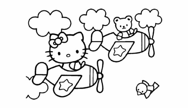 Coloriage Hello Kitty dans l'avion
