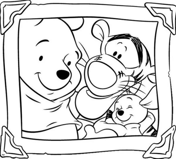 Portrait du gang de l'ourson à colorier